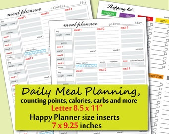 Food Journal, Meal Planner, points tracker and more  suitable for weight watchers planner, Happy Planner size inserts- Instant Download