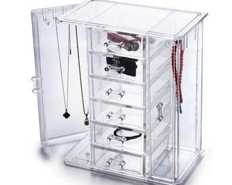 Tiered Acrylic Jewelry Cabinet Organizer