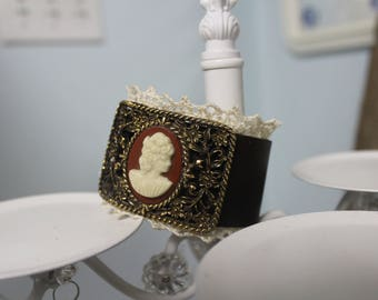 Leather cuff with Cameo Shoe Buckle and Lace