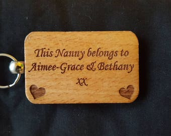 Wooden Engraved Keyring Key ring - THIS NANNY BELONGS To...... - Birthday Gifts Mother's day - New Mum Wooden gifts