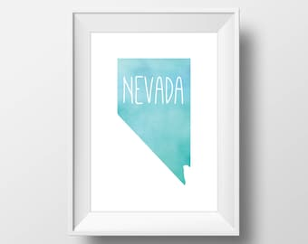 Nevada State Teal Watercolor Printable Art, Nevada Print, Nevada Art, Modern Art,