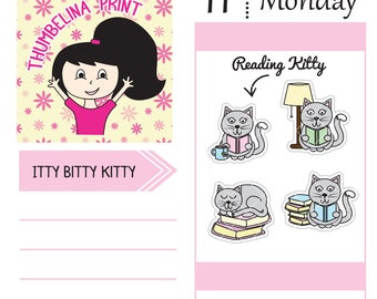 Reading Kitty Decorative Planner Stickers for Erin Condren, Happy Planner, Filofax and more.