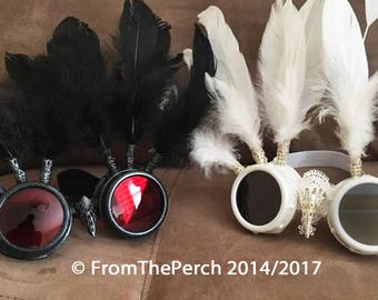 Set of TWO Burning Man Goggles, White Goggles, TWO pairs Festival Goggles, Angel Devil, Steampunk Goggles, Yin Yang, White Feather Goggles