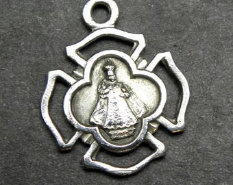Holy Infant Jesus of Prague Antique Vintage Silver Holy Medal, Catholic Charm