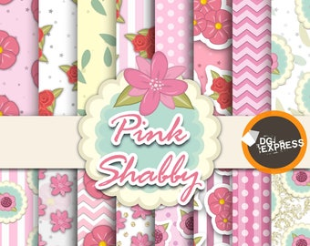 "Pink Shabby Digital Paper : ""Pink Shabby Digital Paper""- Pink Shabby Invitation, Pink Shabby Birthday Invitation, Pink Shabby papers"