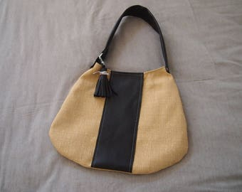 Ochre yellow fabric and faux Brown Leather handbag