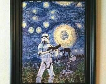 STAR WARS Starry Night - 11 x 14 canvas transfer print - Stormtrooper