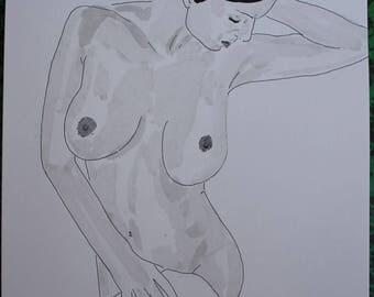 "drawing of nude female erotic ""towel"""