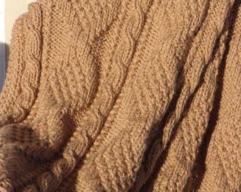 Knitted Blanket in Warm Brown Acrylic Yarn