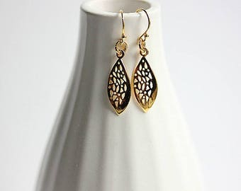 Gold Leaf earrings - Twisted Leaf & Gold filled Dangle Drop Earrings- Gold filled