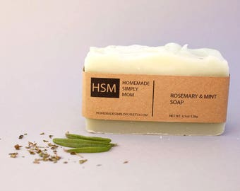 Rosemary Vegan Soap with shea butter and French green clay, Handmade Soap for him, Clay Soap, Palm Free soap, essential oil soap