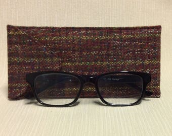 Welsh tweed glasses/spectacles case in pink, red & gold