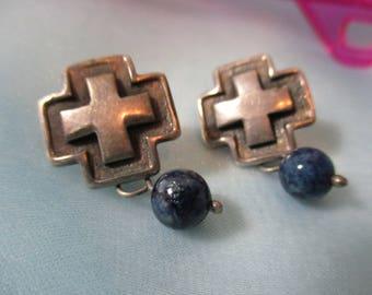 Small Silver Cross Pierced Earrings with Cobalt Blue Bead Drop