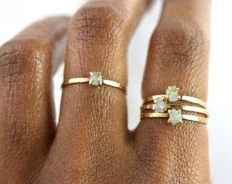 Raw Aquamarine Ring, Gold Gemstone Ring, March Birthstone Ring