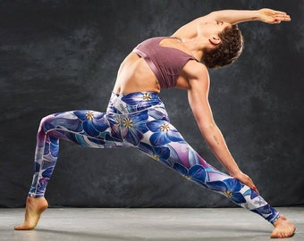 Tight purple floral workout leggings / yoga leggings / yoga pants / activewear / running leggings / ladies fitness leggings / gym wear