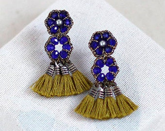 BEADED TASSEL EARRINGS / unique bohemian jewelry / blue earrings / wishpiece