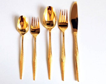 Mid Century Gold Flatware Set / 4 Place Settings / 20 Pieces / Florentine