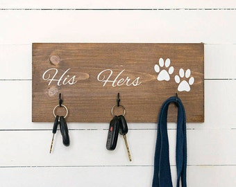 Key Hook, Dog Leash Holder, Dog Lovers, His and Hers, Entryway Organizer, Farmhouse Decor, Rustic Home Decor, Christmas Gift for Couple