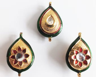 Kundan Gold and Red Flower design Button sew on wedding
