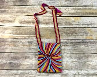 Rainbow Pinwheel Vintage Hippie Beaded Purse  / Retro Rainbow Beaded Pouch / Vintage Bohemian Hand Bag Purse Clutch