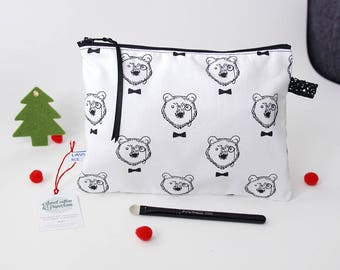 Model Kit bear/deer - 21 x 16 cm (bag lining and pocket with zipper) black and white