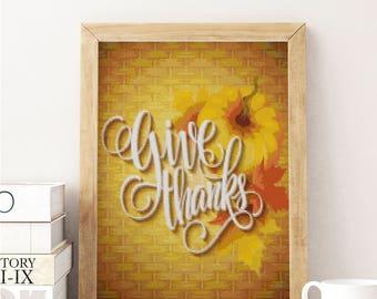 Give Thanks Cross Stitch Pattern, modern cross stitch pattern, Thanksgiving cross stitch pattern, colorful, instant PDF download