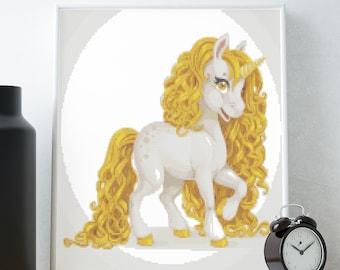Golden Mane Unicorn Cross Stitch Pattern, modern cross stitch pattern, unicorn cross stitch pattern, colorful, instant PDF download
