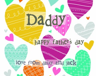 Personalised Father's Day card - hearts design