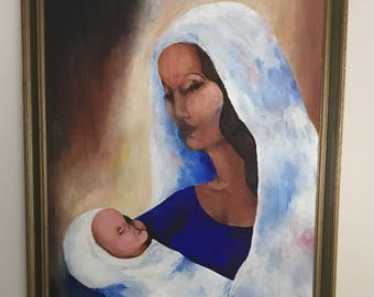 Vintage 18x24 Madonna and child acrylic painting