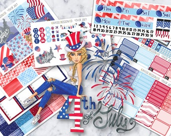 ULTIMATE Weekly Kit / 4th of July / Planner Stickers / Fits Erin Condren Vertical & MAMBI / Hand Drawn / Watecolor / Patriotic