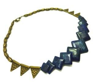 Choker geometric lapis lazuli and bronze metal beads