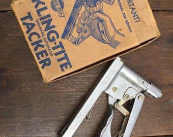 Vintage Kling-Tite Tacker - Hansen Mfg, Automatic Tacker with Original Box, Vintage Staple Gun, Model T-3 Tacker, Vintage Stapler, Chicago