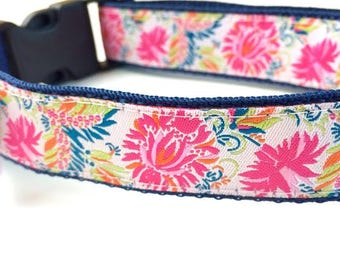 Oriental Floral Dog Collar |Personalized Dog Collar |Floral Dog Collar | Floral Collar & Leash | Girl Dog Collar | Pink Dog Collar