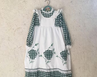Vintage Girls Pinafore Dress 80s Embroidered Green Gingham Prairie Dress by Youngland Size 5-6