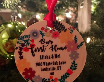 First Home Floral Ornament