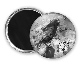 Crow Fridge Magnet nature lover gift birdwatcher gift goth gift kitchen magnet refridgerator magnet crow button magnet party favours