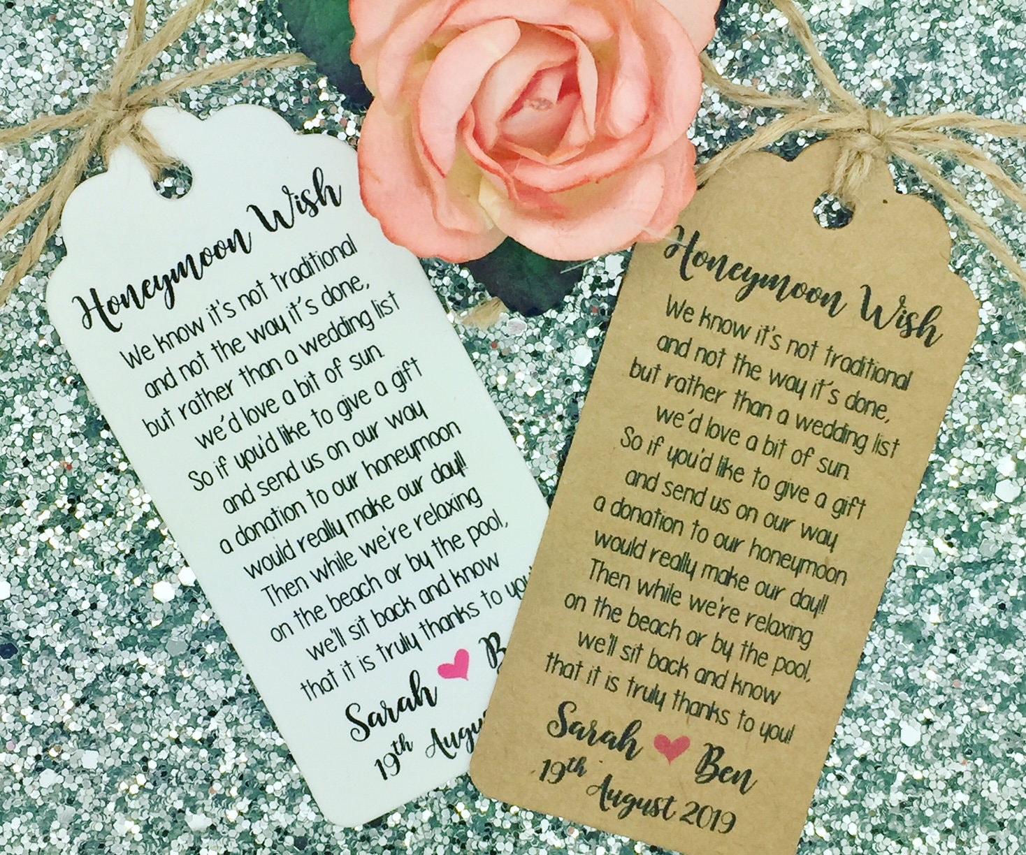 Thank You Wedding Gift Money: Wedding Honeymoon Fund Money Request Poem Card Favour Gift