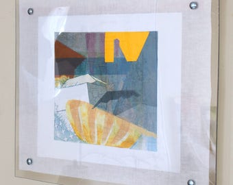 Original Fine Art Etching, Framed Abstract Intaglio Monoprint on Linen