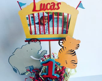 Carnival Birthday Table Centerpiece, Personalized Circus Party Centerpiece, Animal Centerpiece, First Birthday Party Decoration