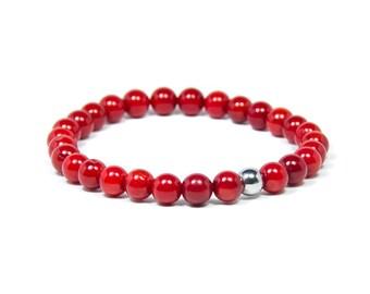 Red coral gemstone bracelet, Men's natural coral beaded bracelet, Stretch bracelet, Red bracelet, Stone bracelet
