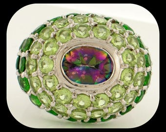 Heavy 13.50 CTW Mystic Topaz, Peridot & Chrome Diopside 925 Sterling Silver RING