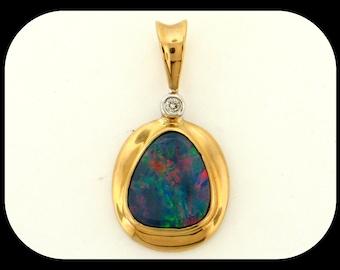 New PENDANT 14K Yellow Gold 2.09CT Australian Black Opal Doublet & Diamond