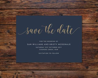 Navy with Gold   Save the Date Cards A6 (Digital File - Printable PDF)