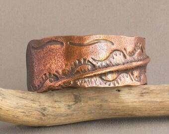 Copper Cuff, Copper Bangle, Cuff Bangle, Textured Cuff, Stamped Cuff, Patterned Cuff, Warrior Cuff, Copper Bracelet,