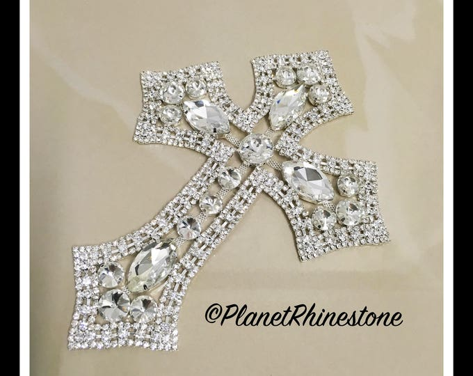Large - Rhinestone Cross Applique/ Swarovski Shine/ Baptism/ first communion #CR-2