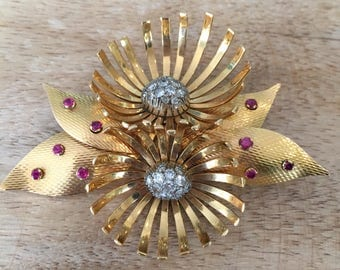 Art Deco Retro Diamond, Ruby and Yellow Gold Floral Brooch