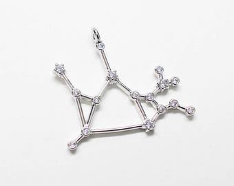 P0747/Anti-Tarnished Polished Rhodium Plating Over Brass +Cubic Zirconia/Cubic Sagittarius Constellation Pendant/22 x 18mm/1pcs