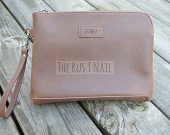 FREE SHIPPING - Personalized Leather Clutch - Distressed Leather Clutch - Monogrammed Clutch - Rugged Leather Purse - Third Anniversary Gift