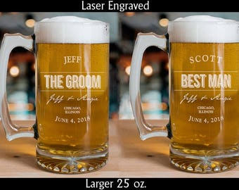6 Beer Mugs - Wedding Glasses - Drinking Glasses - Wedding Party Personalized Mugs Handle - Groomsman Beer Mugs - Wedding Beer Mug - Custom