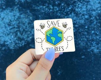 Save The Bees Sticker // Animal Sticker // Environmental Sticker // Laptop Sticker